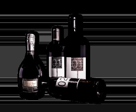 Das K.BERNARDI Wein- und Prosecco Sortiment, Flaschenfotos stehend und liegend
